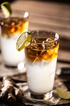 Dark n stormy highball cocktail served as a long drink with rum, fresh lime juice, and ginger beer.
