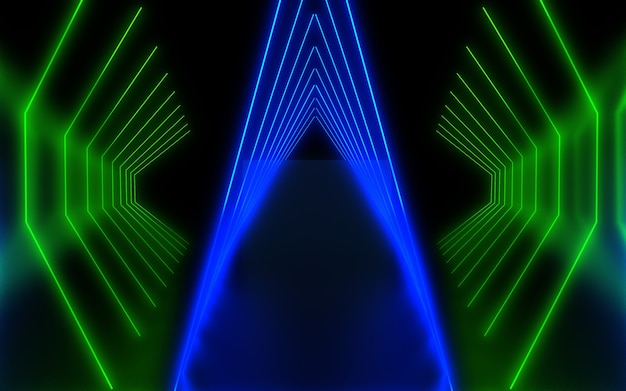 Dark neon abstract background. 3d illustration
