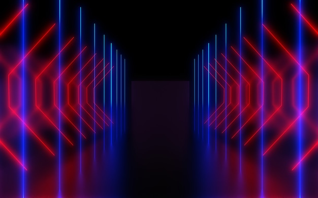 Темный неоновый абстрактный фон. 3d иллюстрация