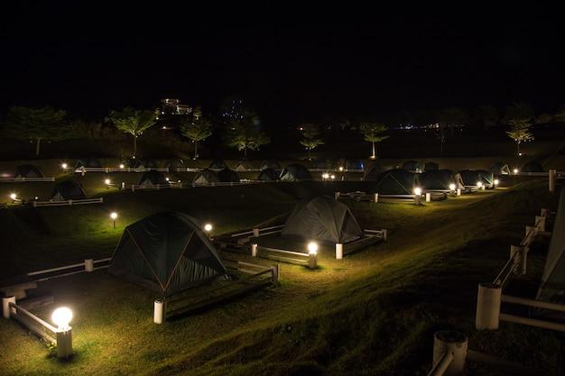 In the dark night camping at wang nam khiao thailand