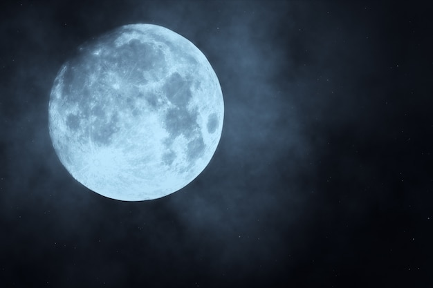Dark night forest against full moon 3d illustration