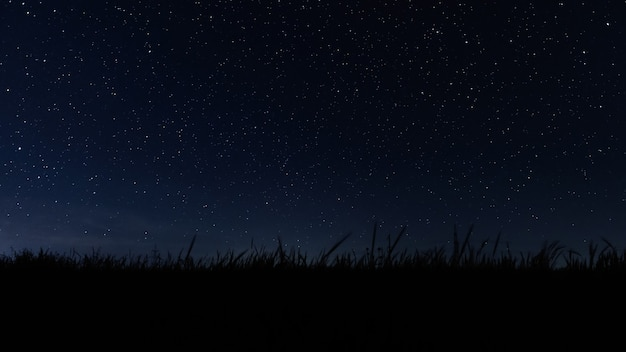 Dark night starry sky and galaxy in outer space universe background