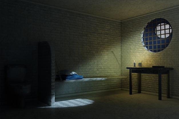 침대, 테이블, 화장실이 극단적으로 닫혀 있는 한 사람을 위한 어두운 오래된 감옥 내부. 3d 렌더링
