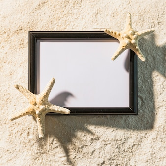 Dark photo frame with starfishes