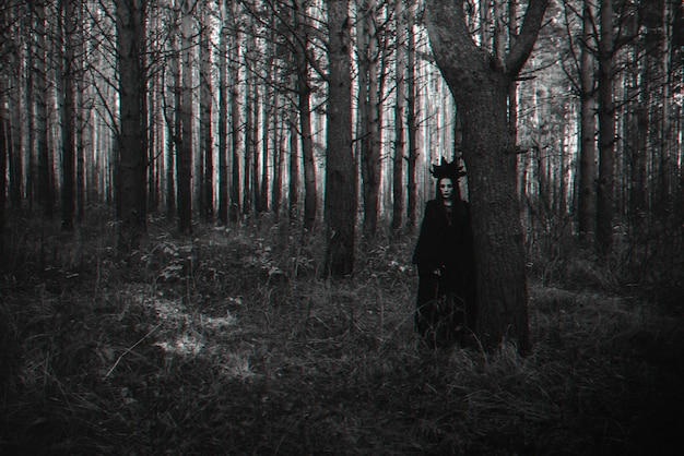 Dark portrait of a frightening witch in black costume. black and white with 3d glitch virtual reality effect