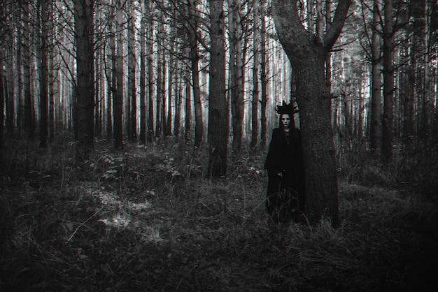 검은 의상을 입은 무서운 마녀의 어두운 초상화. 3d 글리치 가상 현실 효과가 있는 흑백