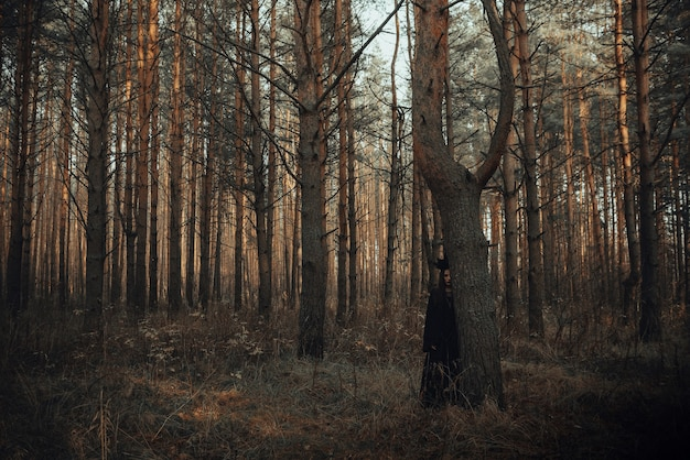 Dark portrait of a witch girl in a black costume in the woods