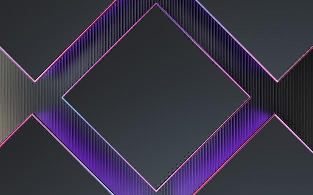 濃い紫色の正方形の抽象的な幾何学的な背景パターン3dレンダリング