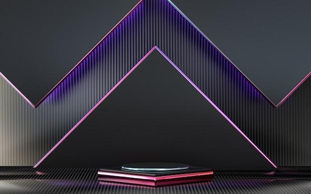 表彰台の3dレンダリングと濃い紫色の正方形の抽象的な幾何学的な背景