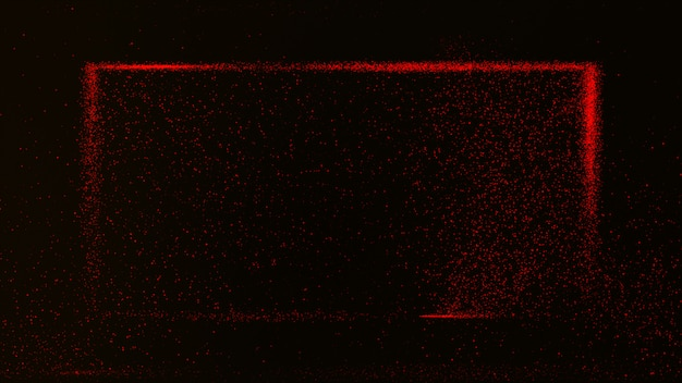 Dark red background with small red dust particles glowing in a rectangular box.