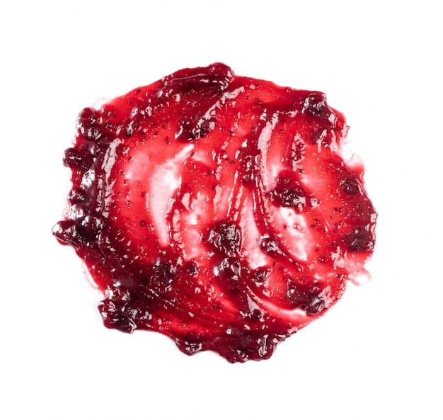 Dark red berry jam round blot frame or spot isolated