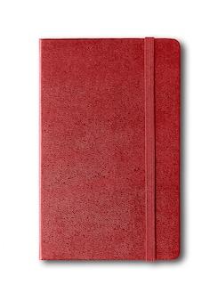白で隔離される暗い赤閉じたノート