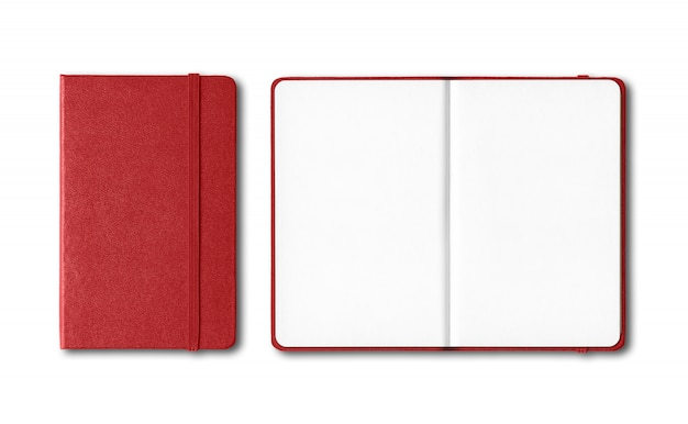 Dark red closed and open notebooks isolated on white