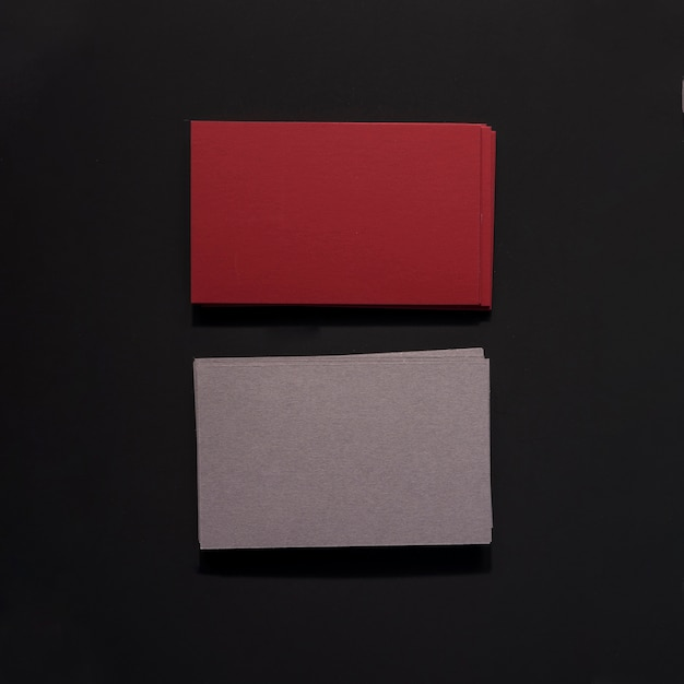 Dark red and grey business cards