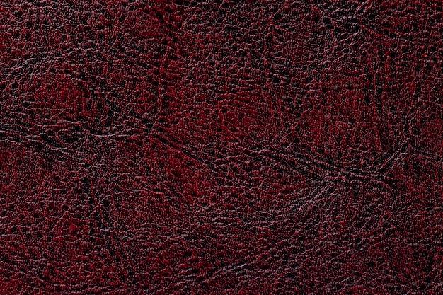 Dark red leather texture background, closeup