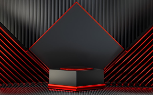 Dark red mantellic podium display with abstract background for product presentation 3d rendering