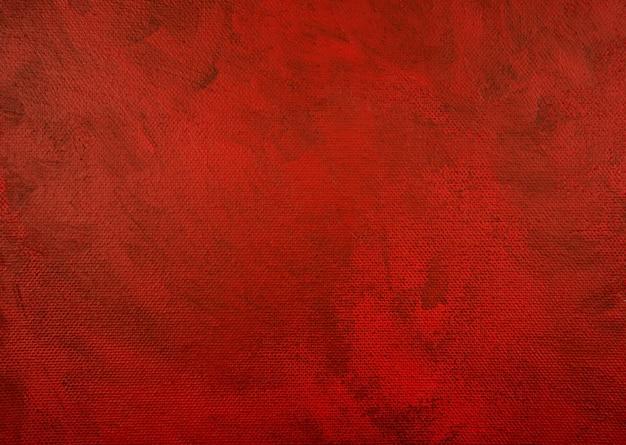 黒のアクリルに濃い赤手描きの抽象的な絵画の背景