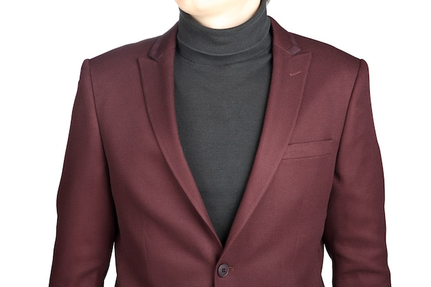 Dark red suit jacket for men, isolated on white background, close-up.