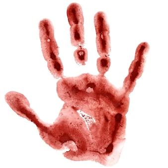 흰색 배경, 래스터 그림에 고립 된 진한 빨간색 수채화 손 인쇄