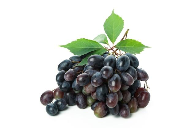 Dark ripe grape isolated on white background