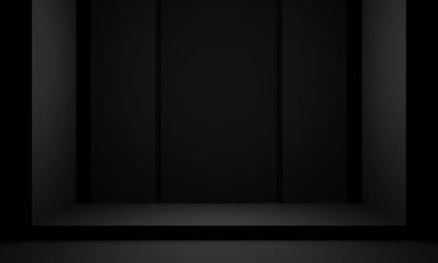 Dark room stage. black stand. 3d rendering.