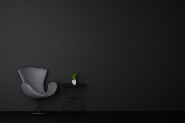 Dark room with black chair sofa. 3d rendering.