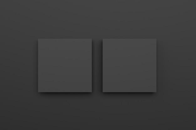 Dark room with blank black frame. 3d rendering.