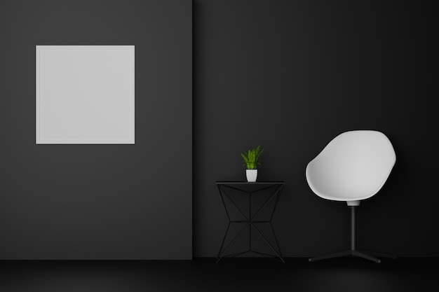 Dark room with white chair sofa and blank picture frame. 3d rendering.