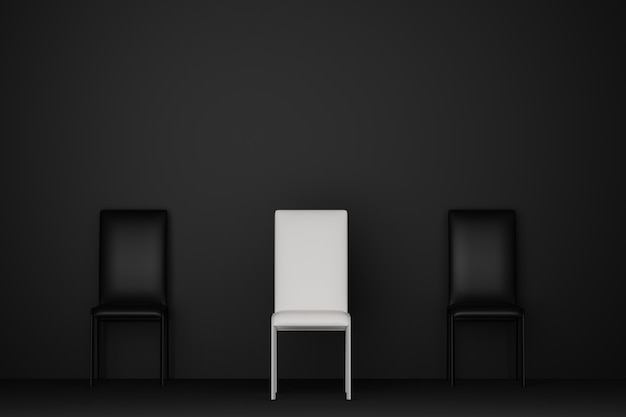 Dark room with white chair stand out of black chair sofa. 3d rendering.
