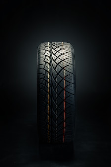 Dark rubber tire