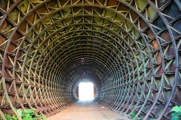 暗い素朴なトンネルとその終わりの光