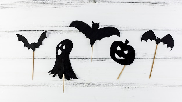 Dark scary paper figures for halloween
