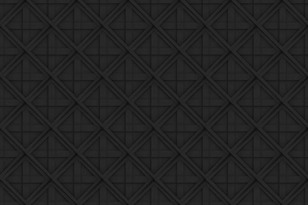 Dark seamless black square grid pattern art design wall background.