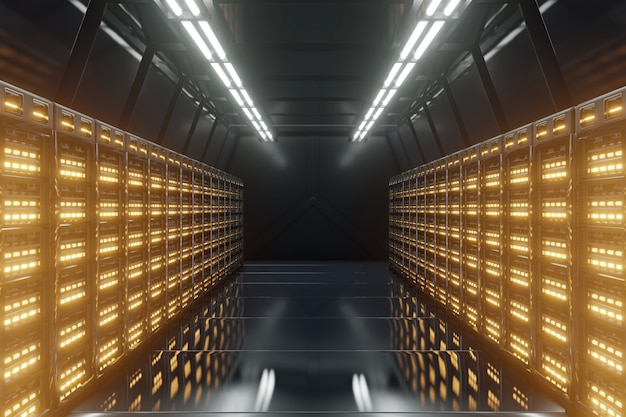 Dark server room network with yellow lights.