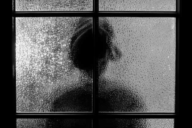 Dark silhouette of girl behind glass.
