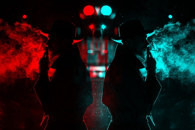 Dark silhouette of a man in a hat smoking a cigarette in the rain on a night street. 3d glitch virtual reality effect