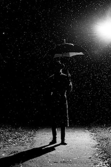 Dark silhouette of a man in a raincoat and hat under an umbrella on the street in the rain on the road at night