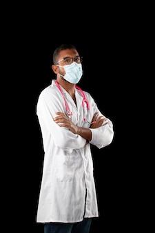 Dark skin doctor with pink stethoscope