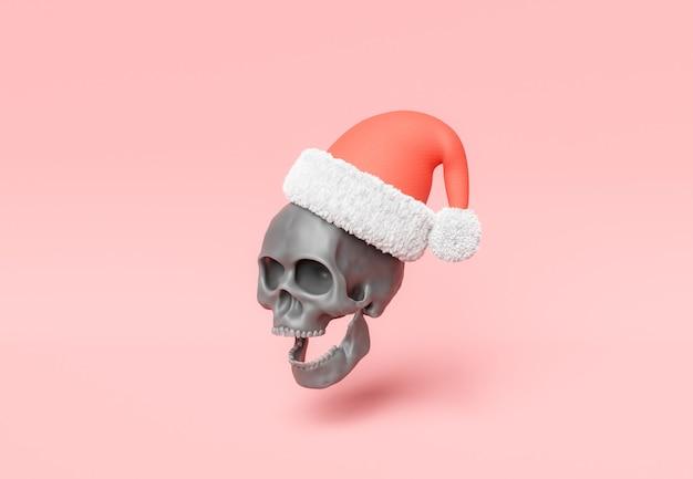 Темный череп в новогодней шапке
