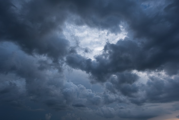 Dark sky and black clouds, dramatic storm clouds before rainy