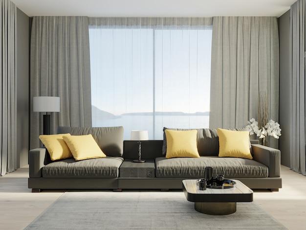 밝은 노란색 베개와 회색 커튼이 있는 창문이 있는 어두운 소파, 거실 내부 모형, 3d 렌더링