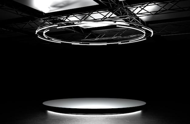Темный подиум с подсветкой. круглый постамент, светящаяся пустая площадка на полу. 3d иллюстрация