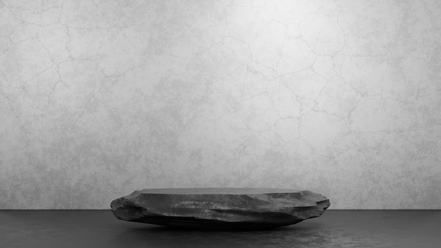 Темный каменный пьедестал подиум на сером фоне бетонной комнаты студии для шаблона презентации. макет сцены выставки геометрии. 3d визуализация иллюстрации.
