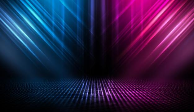 暗い通りの背景、アスファルトの青と赤のネオンの反射。