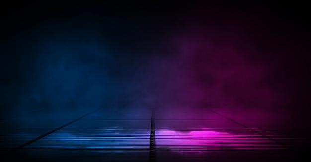 어두운 거리 배경, 아스팔트에 파란색과 빨간색 네온의 반사.