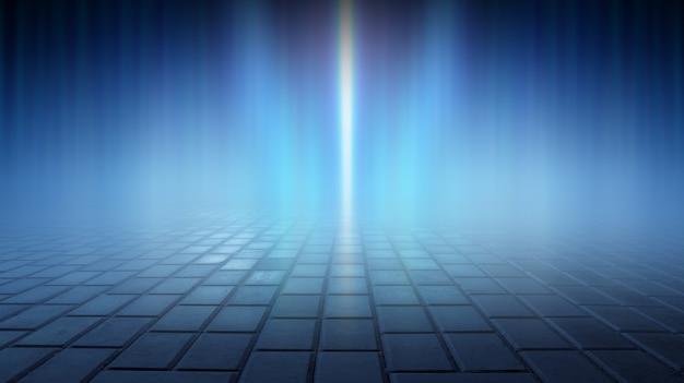 水中の光線の暗い通りの濡れたアスファルト反射抽象的な濃い青の背景煙スモッグ空の暗いシーンネオンライトスポットライト