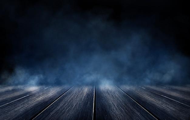 Темная улица, мокрый асфальт, отражения лучей