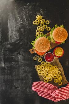 Dark surface with fast food menu