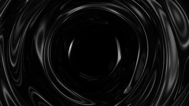 Dark surface with reflections. smooth minimal black waves background. blurry silk waves tunnel. minimal soft grayscale ripples flow. 3d render illustration.