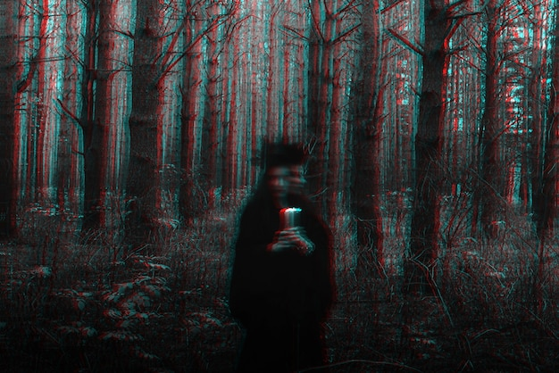 Dark terrible witch with candles in her hands performs an occult mystical ritual. blurry photo with blurring due to long exposure time. black and white with 3d glitch virtual reality effect
